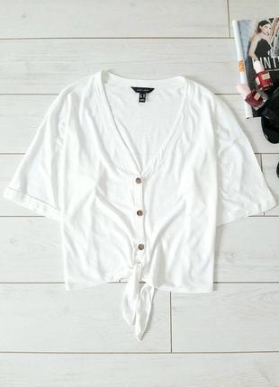 Базовая короткая блуза_трикотаж на завязке,хлопок с модал