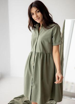 Легке лляне плаття-сорочка4 фото