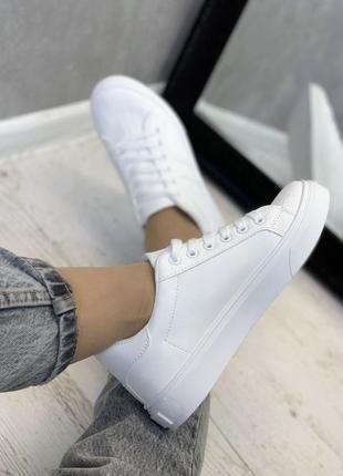 Распродажа 38/39 базовые👟кеды👡кроссовки макасины белые женские на шнурках