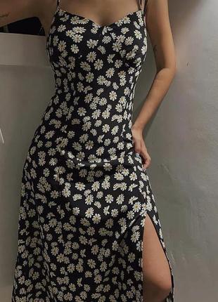 Женское платье миди с принтом ромашка