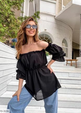 Блуза с открытыми плечами. рукава на резинке.7 фото