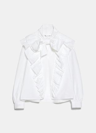 Оригинальная белая блуза рубашка рюши zara