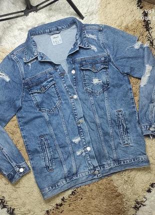 Удлиненная оверсайз джинсовка драная джинсовая куртка denim co м-л (можно меньше)