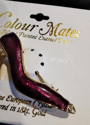 Позолоченная большая брошь с эмалью туфелька со стразами кристаллы4 фото