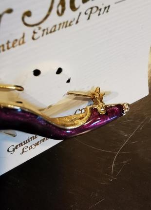 Позолоченная большая брошь с эмалью туфелька со стразами кристаллы5 фото