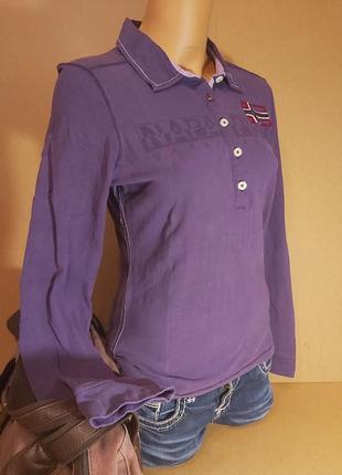Поло женское napapijri. фиолетовое женское поло с длинным рукавом napapijri