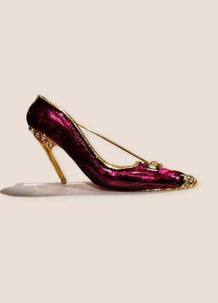 Позолоченная большая брошь с эмалью туфелька со стразами кристаллы