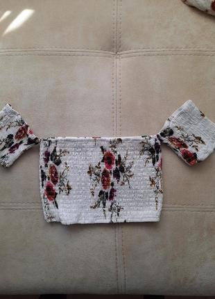 Кроп топ резинка в цветы 💐 под мом футболка майка !