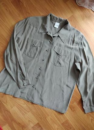 Натуральная шелковая блуза рубашка 100% натуральный шелк