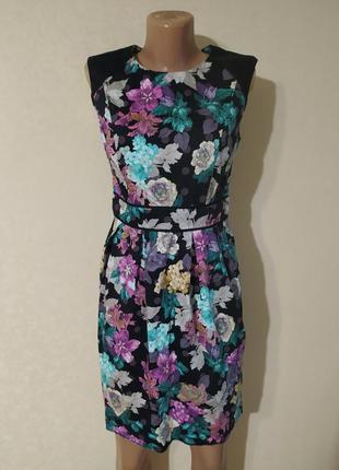Платье красивое длинное в цветах разноцветное яркое черное розовое хлопок
