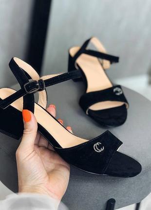Распродажа♥️нат замша♥️ туфли босоножки чёрные