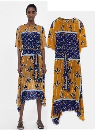 Zara шифоновое платье миди с асимметричной юбкой синее /горчица