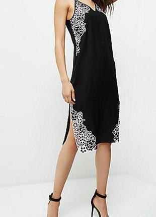 Платье чёрное в бельевом стиле river island