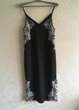 Платье чёрное в бельевом стиле river island2 фото