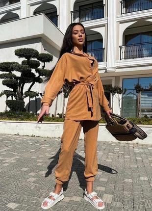 Брючный костюм женский летний с брюками рубашкой4 фото