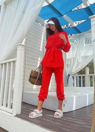 Брючный костюм женский летний с брюками рубашкой7 фото