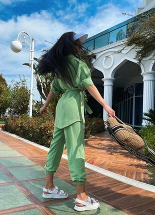 Брючный костюм женский летний с брюками рубашкой6 фото