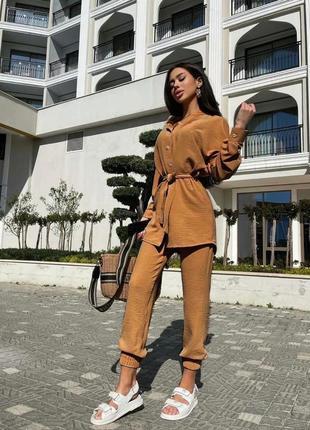 Брючный костюм женский летний с брюками рубашкой3 фото