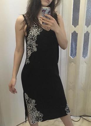 Платье чёрное в бельевом стиле river island4 фото