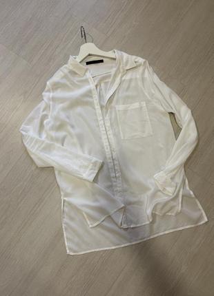 Рубашка туника белая хлопковая оверсайз