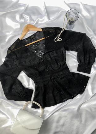 Блуза с объемными рукавами пышными из прошвы черная рубашка прошва