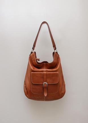 Кожаная коричневая сумка clark's