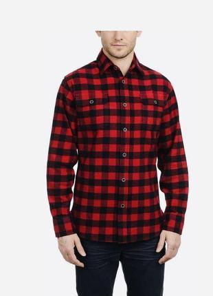 Рубашка jachs mens flannel shirt buffalo plaid red black