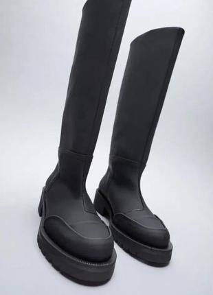 Черные резиновые сапоги, ботинки, чоботи на дощ от zara! тренд 2021