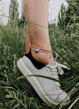 Браслет на ногу из бисера, комплект 2шт., анклет из бисера
