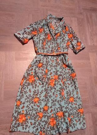 Платье винтаж, платье в цветочный принт, платье 1975
