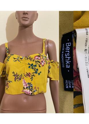 Желтый топ в цветы1 фото