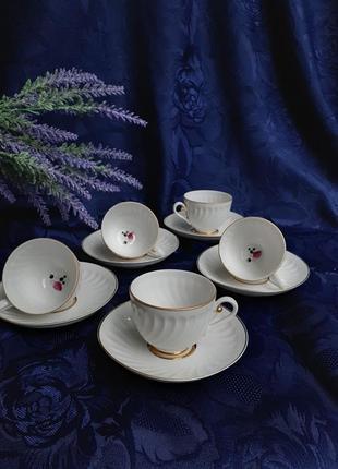 Чашки с блюдцем черная смородина лфз ручная авторская роспись винтаж ссср советский ломоносовский фарфор