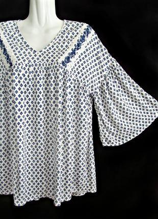 Распродажа! блуза из жатки в синих тонах с широкими рукавами р.14
