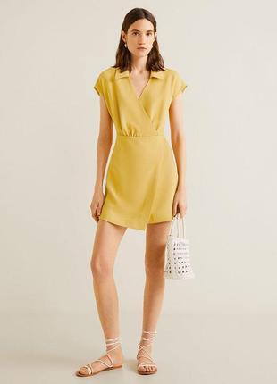 Желтое платье на запах mango