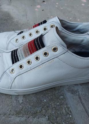 🔥акция 1+1=3🔥 кожаные белые кроссовки tommy hilfiger