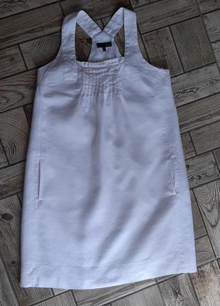 Белый сарафан льняное платье свободного кроя