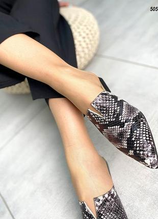 Женские мюли натуральная кожа имитация питона