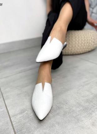 Белые женские мюли шлепки натуральная кожа под питона