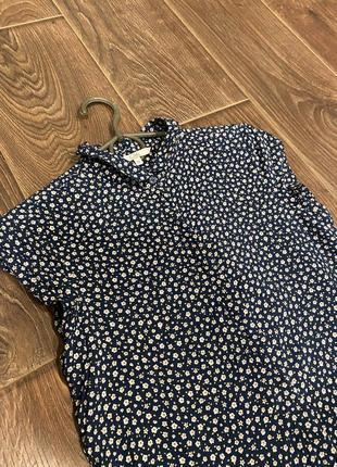 Рубашка блуза короткий рукав цветочный принт