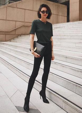 Чёрные базовые штаны skinny скинни штани джинсы джинси по боках замочки