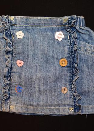 Джинсовая юбочка для девочки от next 6-9 мес