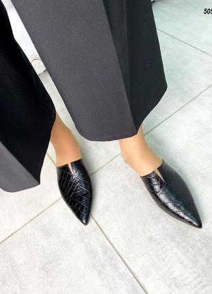 Чёрные женские кожаные мюли шлепки имитация питона