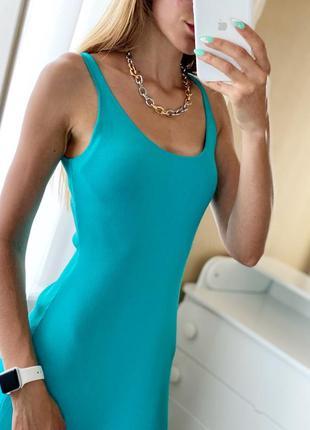 Голубое трикотажное платье миди сарафан