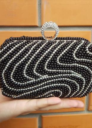Вечерний чёрный🖤 клатч сумочка аксессуар нарядный жемчуг камни