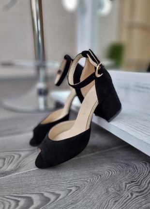 Туфли босоножки р36-40 на устойчивом каблуке замша замшевые босоніжки туфлі замшеві