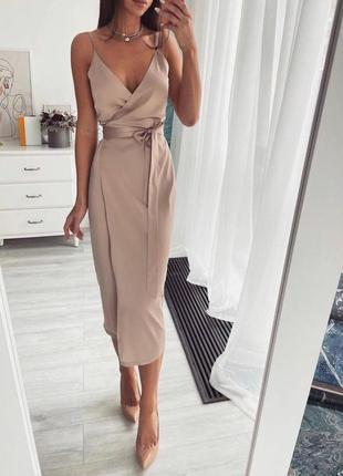 Женское платье, платье миди, платье бордо, платье бежевое