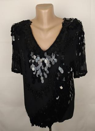 Блуза мега шикарная шелковая украшена паетками бисером ручная работа m