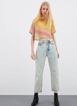 Укороченная сатиновая блуза от zara 1+1=3