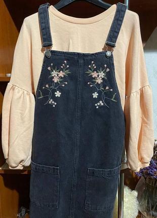 Ромпер джинсовый сарафан летнее платье с цветами милое платье в корейском стиле