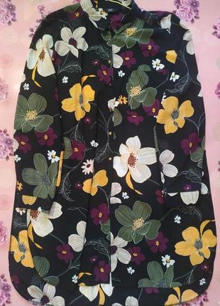Шикарная удлиненная блуза в цветы*подовжена блуза в квіти